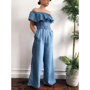 Pants - 🆕Cove Chambray Ruffle Off the Shoulder Jumpsuit